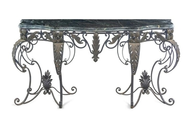 A French Style Steel Marble-Top Console Table