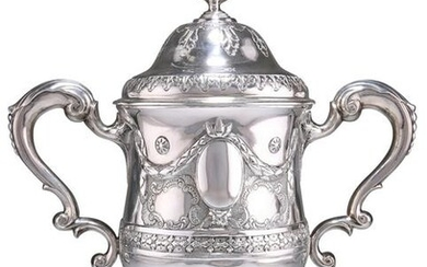 A GEORGE III IRISH SILVER TWIN-HANDLED CUP AND COVER