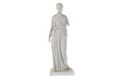 A LATE 19TH CENTURY ROYAL COPENHAGEN BISCUIT PORCELAIN FIGURE OF A CLASSICAL FEMALE