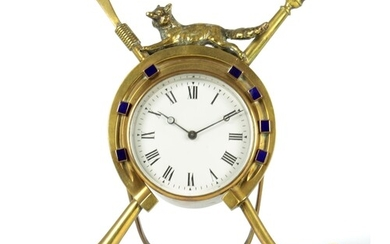 A LATE 19TH CENTURY STRUT TYPE MANTEL CLOCK OF HUNTING INTER...