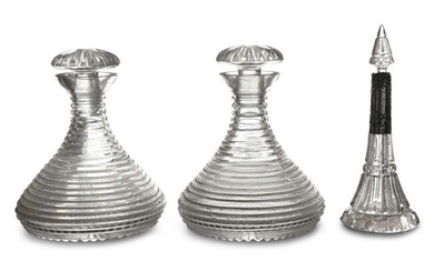A PAIR OF 19TH CENTURY CUTCRYSTAL SHIPS DECANTERS,...
