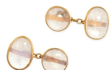 A PAIR OF ANTIQUE MOONSTONE CUFFLINKS in yellow gold