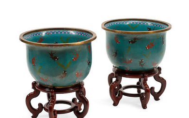 A PAIR OF CHINESE CHAMPLEVÉ ENAMEL FISH BOWLS ON CARVED WOOD STANDS