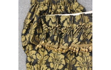 A PAIR OF DAMASK CURTAINS, modern, woven in old gold with sc...