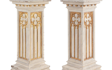 A Pair of French Gothic Revival Painted and Parcel Gilt Pedestals