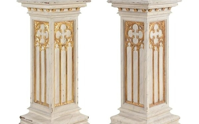 A Pair of French Gothic Revival Painted and Parcel Gilt