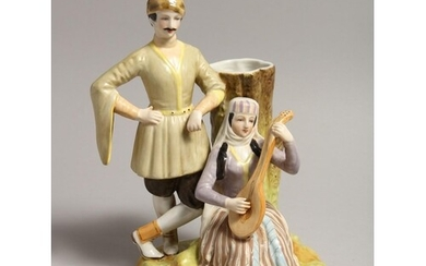 A RUSSIAN STYLE PORCELAIN SPILL VASE OF A RUSSIAN MAN, the w...