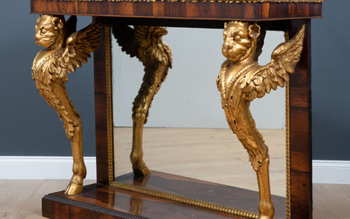 A Regency and later rosewood marble topped console table