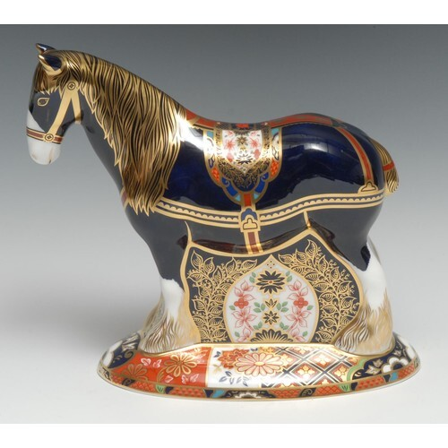 A Royal Crown Derby paperweight, Shire Horse, Sinclairs excl...
