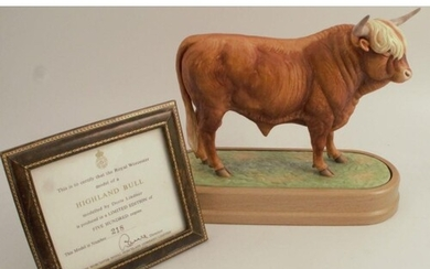 A Royal Worcester limited edition model, Highland Bull, mode...