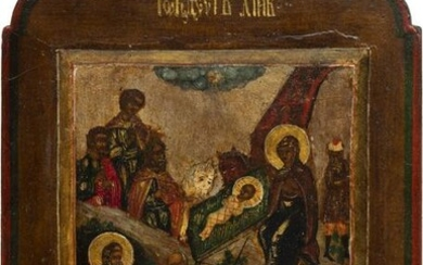 A SMALL ICON SHOWING THE NATIVITY OF CHRIST