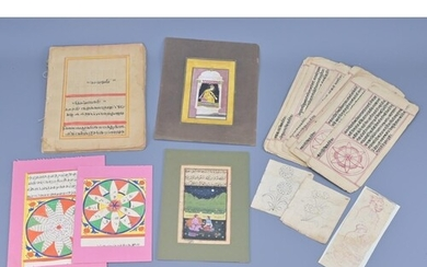 A collection of indian hand painted books and pages with ins...