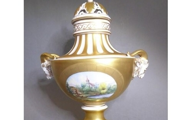 A fine hand-gilded and decorated Dresden porcelain urn and c...