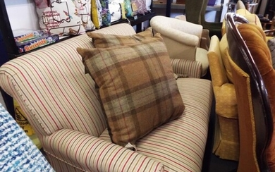A good quality lounge low two seater settee with striped uph...