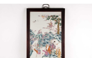 A large Chinese Famille rose porcelain rectangular plaque. P...
