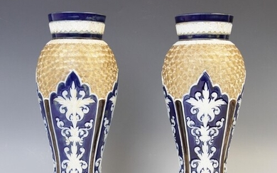 A pair of Royal Doulton vases, early 20th century, of invert...