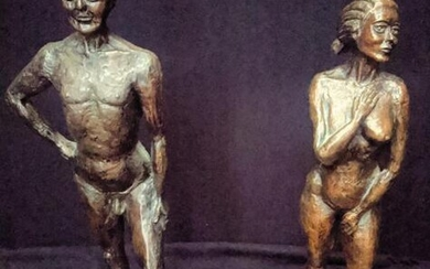 A pair of bronze coated nudes, signed and dated RD