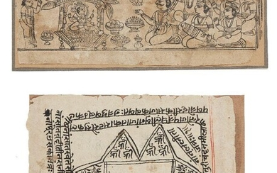 A woodblock print illustration and a page from a manuscript, Rajasthan, 19th century, 10.6 x 26cm, 17.5 x 22cm (2) Provenance: Private Collection Germany formed in the 1970s