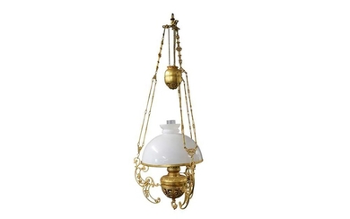 AN ANGLO INDIAN RISE AND FALL GILT BRASS HANGING LAMP, LATE 20TH CENTURY