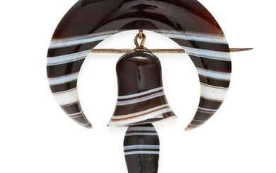 ANTIQUE BANDED AGATE BELL BROOCH, designed as a crescent, su...