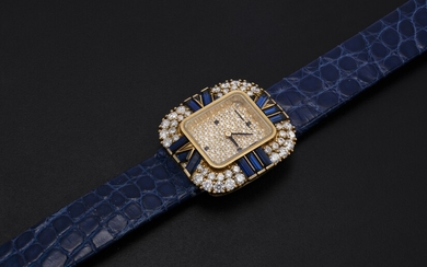 AUDEMARS PIGUET, A LADIES GOLD WRISTWATCH SET WITH DIAMONDS AND SAPPHIRES AND A PAVED DIAL