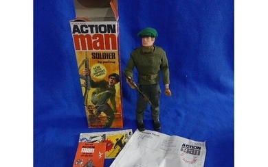 Action Man; A boxed 1970's Soldier Figure, with blond flock ...