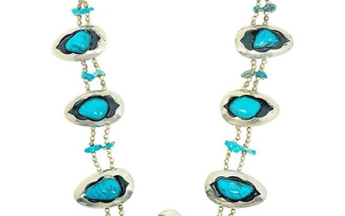 American Indian Squash Blossom Silver Turquoise and