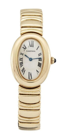 An 18ct gold 'baignoire' quartz wristwatch by Cartier, the oval dial with Roman numerals to a fancy link bracelet with double deployant clasp, dial, case and clasp signed Cartier, case numbered 1954 884759CD, case and clasp with European Convention...