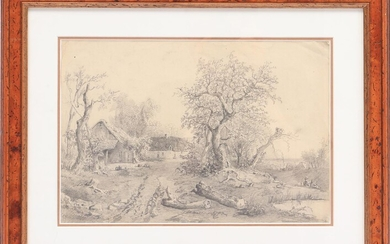 (-), Anonymous, Landscape with a farmhouse, pencil drawing...
