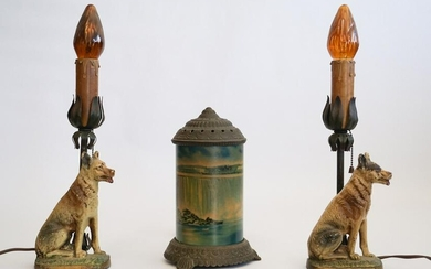 Antique Cold Painted Metal Dog Form Table Lamps