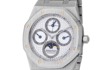 Audemars Piguet. Very Elegant and Tasteful Royal Oak Quantieme Perpetual Wristwatch in Platinum, Reference 25820PT, With White and Silver Tapisserie Dial, Box and Papers