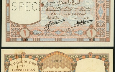 Banque de Syrie et du Grand-Liban, a specimen obverse and reverse 1 livre, 1925, serial number...