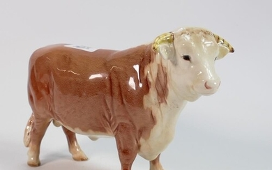 Beswick early Hereford bull 949: in chestnut colour.