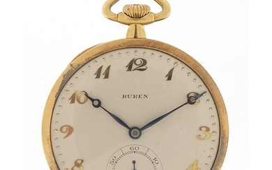 Buren 18ct gold open face pocket watch with subsidiary dial,...