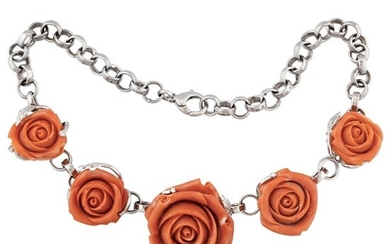 *CORAL, DIAMOND AND GOLD NECKLACE