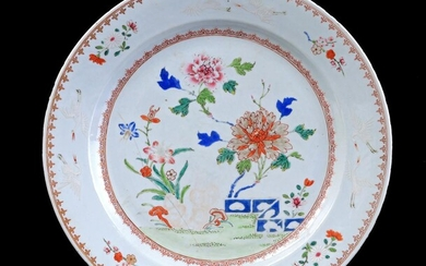 (-), Chinese porcelain dish with polychrome floral decoration...