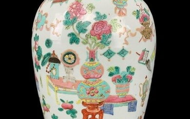 Chinese Famille Rose Lidded Urn, Vase On Stand