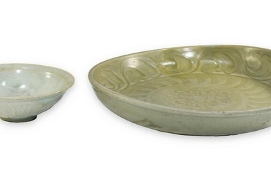 Chinese Ming Celadon Plate and Song Hutian Bowl