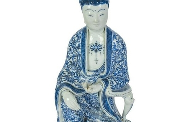 Chinese Porcelain Blue and White Guanyin Sculpture