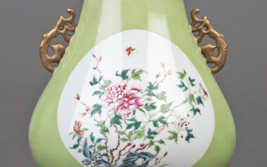 Chinese famille rose floral vase