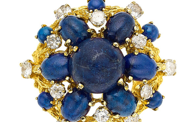 Diamond, Lapis Lazuli, Gold Ring The ring features oval...