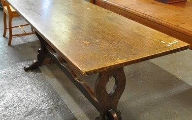 Early 20th Century oak refectory type table of rectangular f...