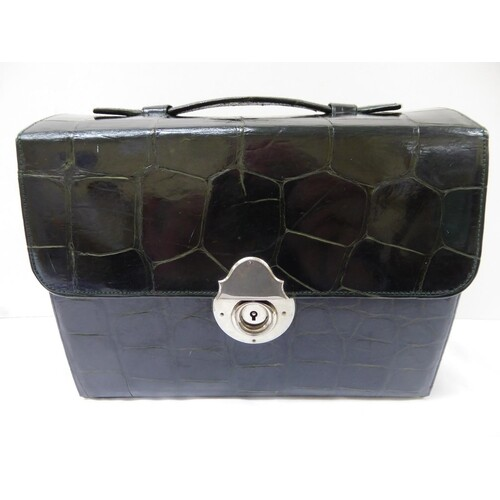 Edwardian green crocodile skin compact vanity case with silv...