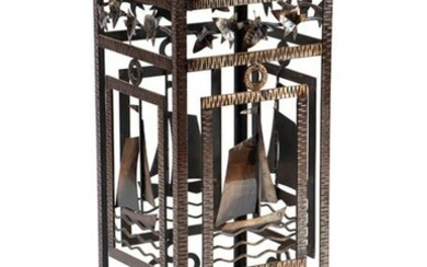FRENCH NAUTICAL WROUGHT IRON BLACK GLASS TABLE