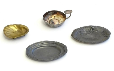 Four assorted items to include a silver plate wine