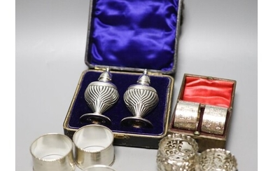Four pairs of silver napkin rings including cased Victorian ...