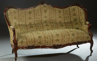 French Louis XV Style Carved Mahogany Settee, late 19th