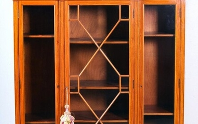 French style mahogany and satinwood inlaid bookcase