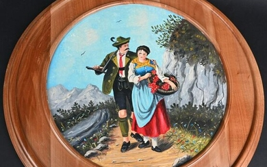 GERMAN WOOD SHOOTING TARGET WITH MAN AND WOMEN