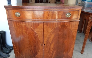 George III Bow Fronted Cabinet with Reeded Top, Upper Drawer...
